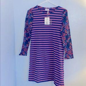 Matilda Jane Floral Stripe Dress Sz 12  NWT